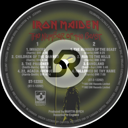 223b8b8e Iron Maiden 'The Number of the Beast' LP Label Sticker - RetroReplays